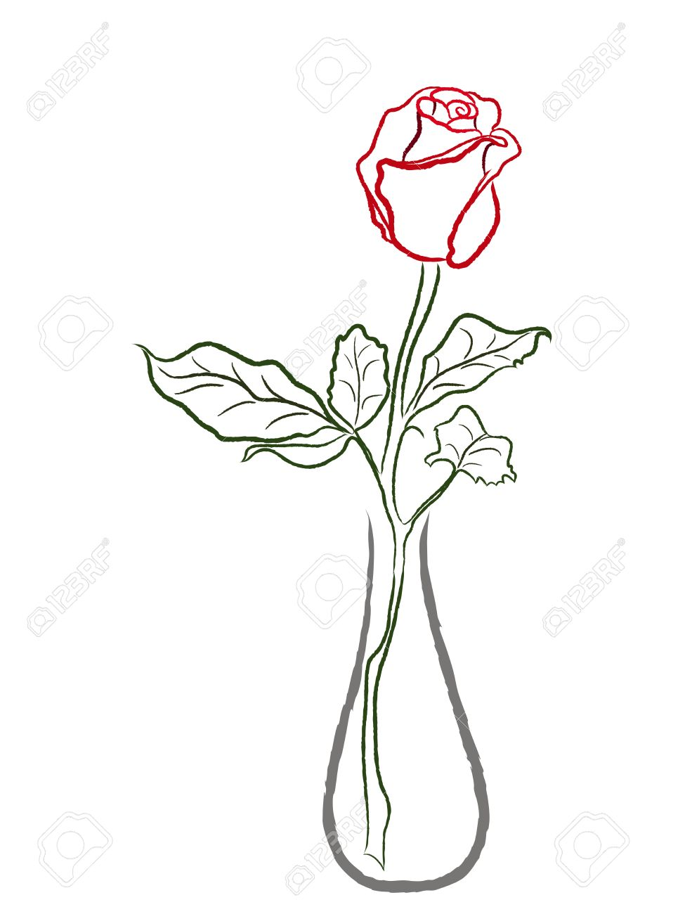 Stylized red rose in a vase isolated on white background hand stylized red rose in a vase isolated on white background hand drawing vector illustration stock floridaeventfo Choice Image