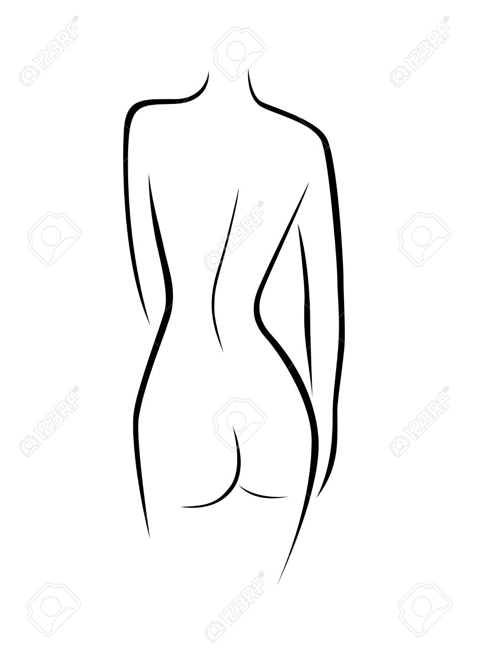 Abstract Female Back Contour, Black Over White Hand Drawing Vector ...