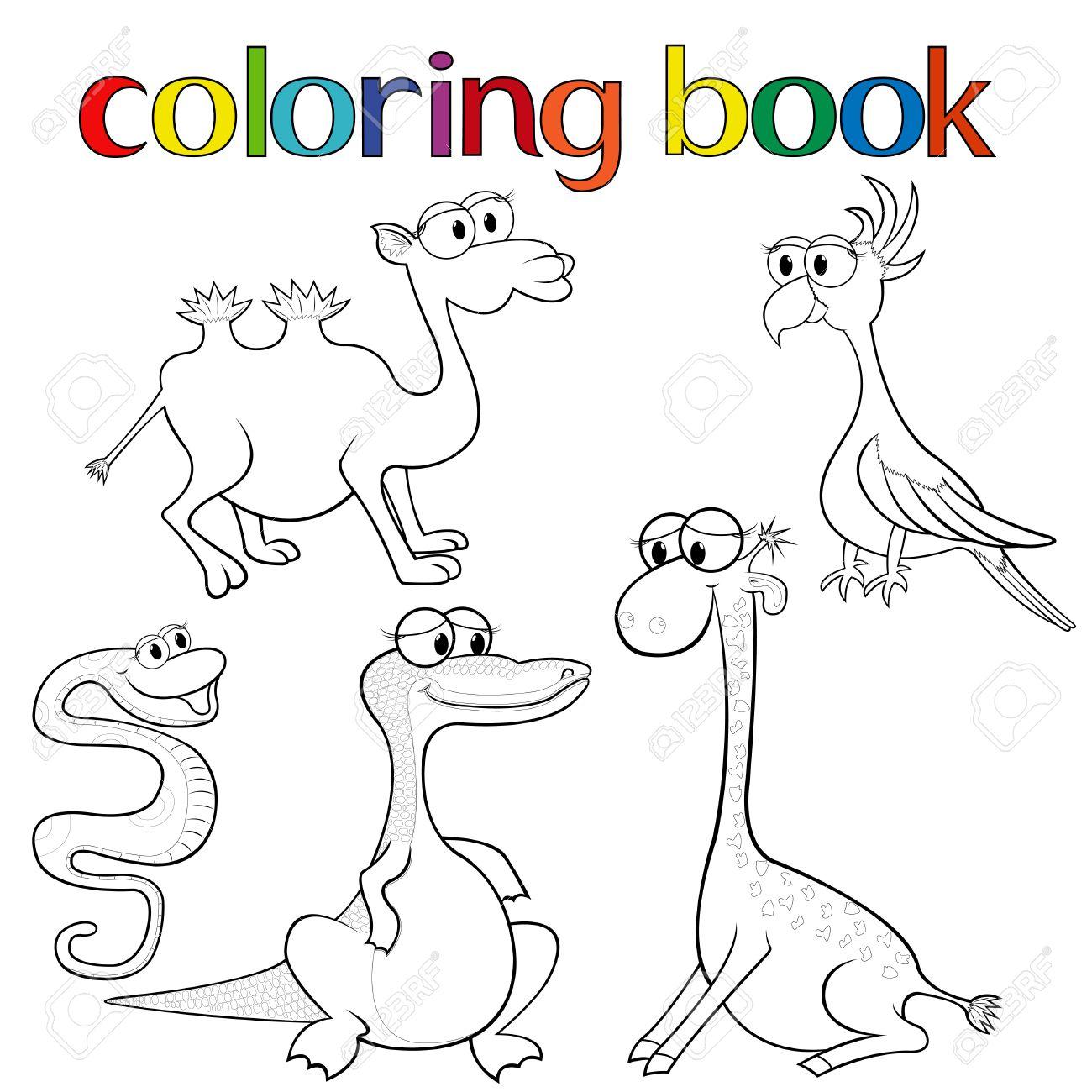Vettoriale Set Di Animali Per Libro Da Colorare Con Giraffa