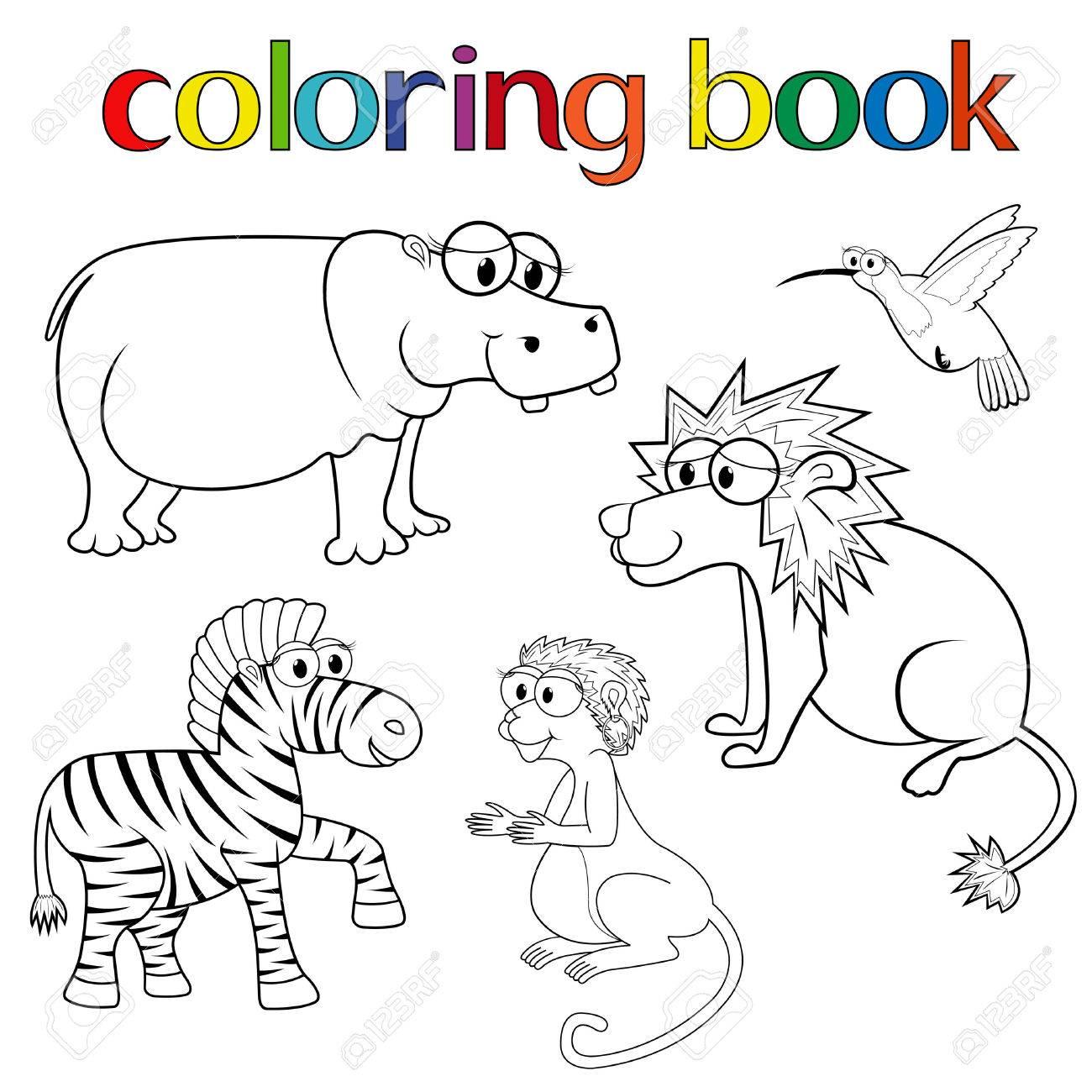 Kit Di Animali Per Libro Da Colorare Con Ippopotami Leoni Zebre Colibrì E La Scimmia Cartoon Illustrazione Vettoriale