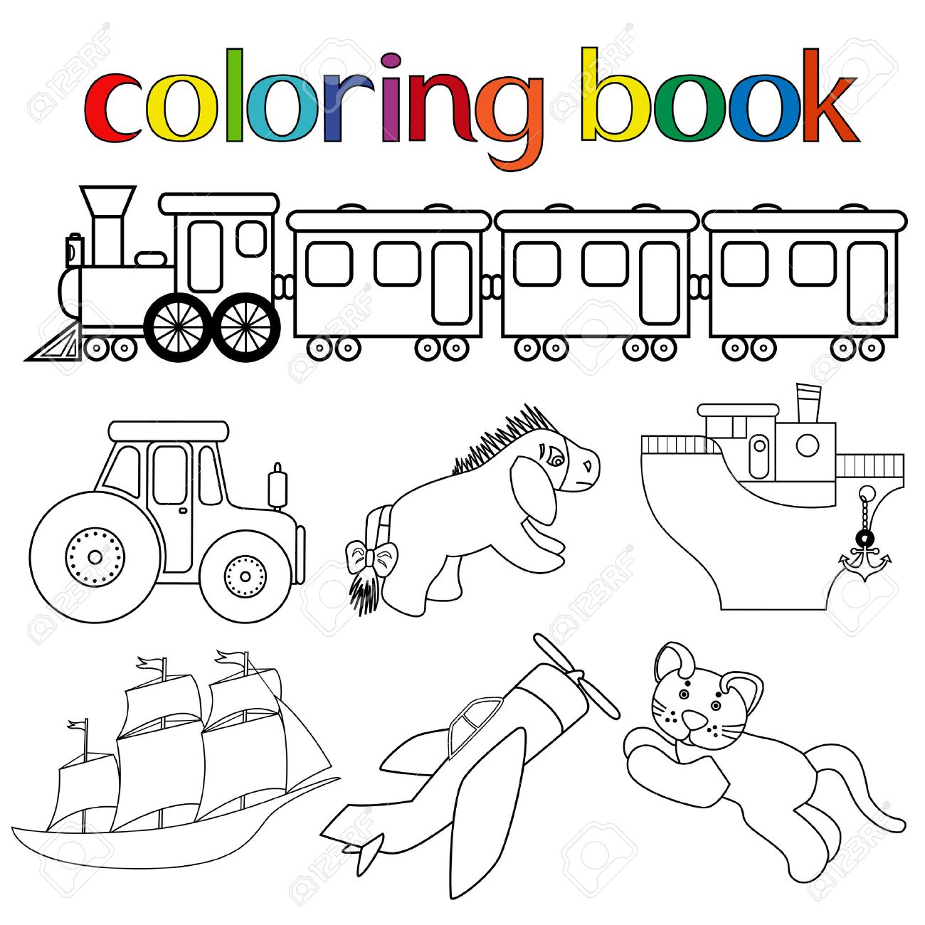 set of different toys for coloring book with train with wagons