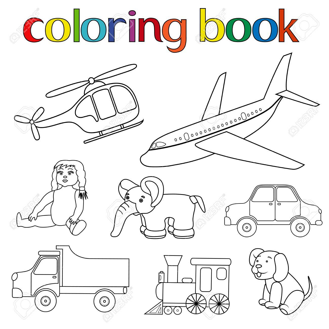 Conjunto De Varios Juguetes Para Libro Para Colorear Con Helicóptero ...