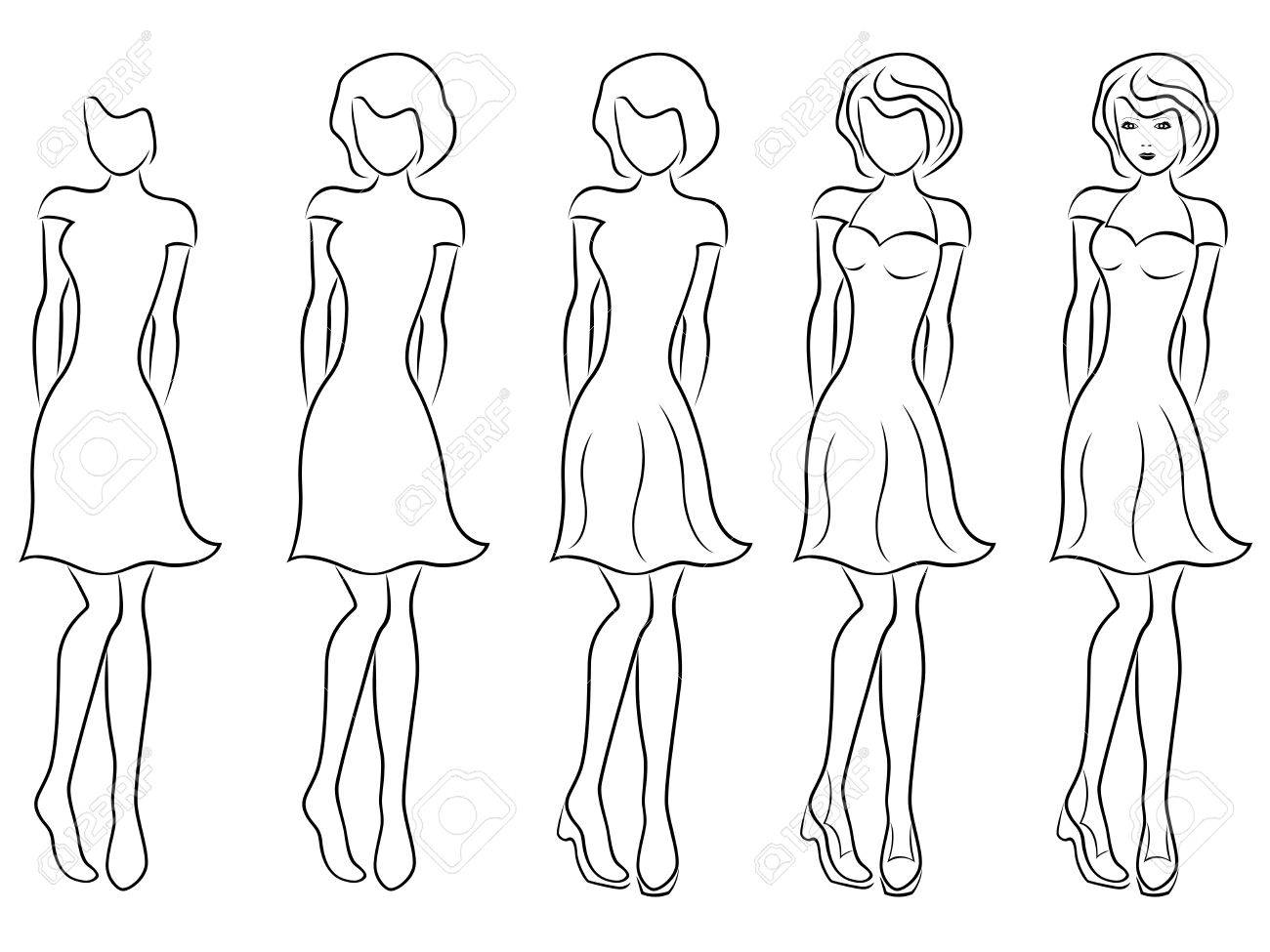 Sequence Of Hand Drawing Creation A Beautiful Women Vector Contour ...