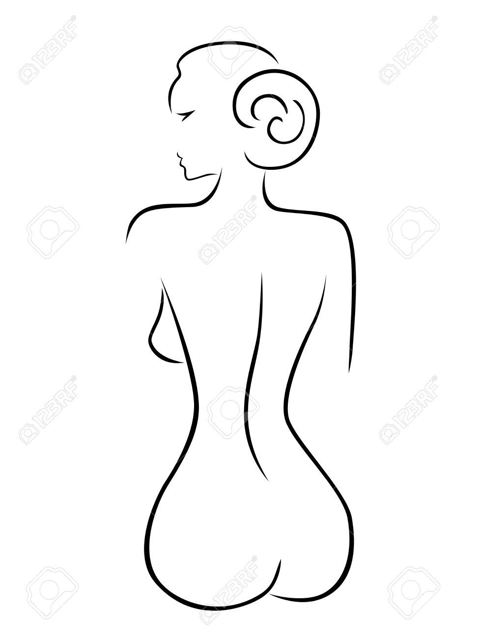 Resume Silhouette D Une Femme Sexy Assis Noir Sur Blanc Dessin A La