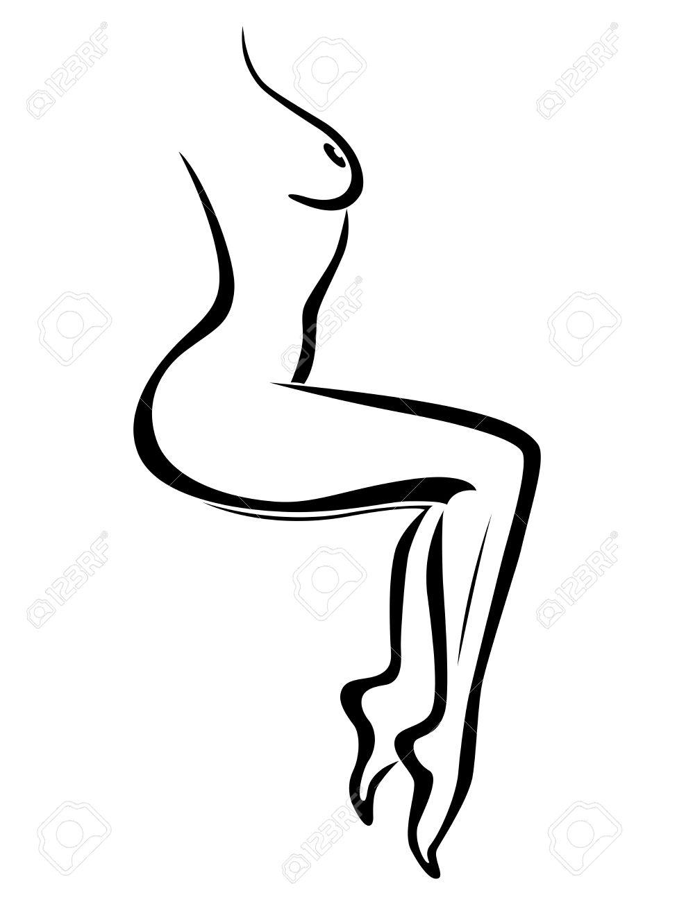 Femme Dessin Corps résumé contour de séance sexy corps de femme, noir sur blanc main