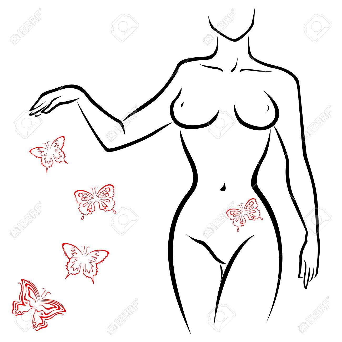 Femme Dessin Corps résumé contour d'un corps de femme sexy avec des papillons rouges