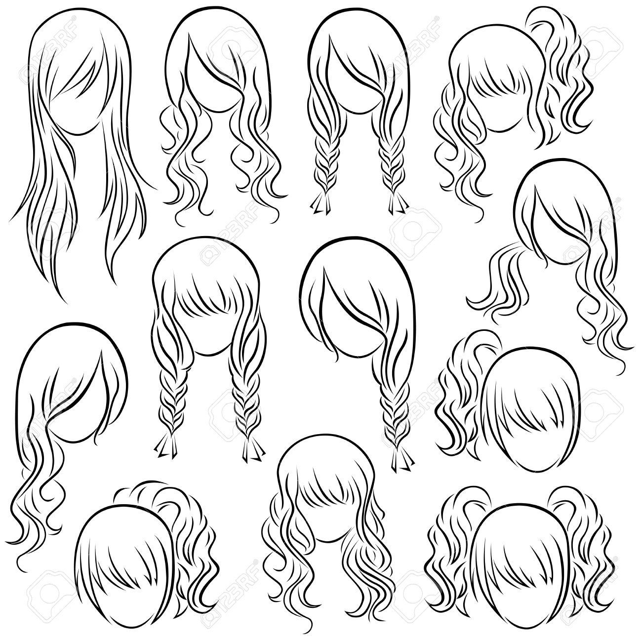 Set Of Teenage Girl Hairstyles Hand Drawing Vector Contour Royalty