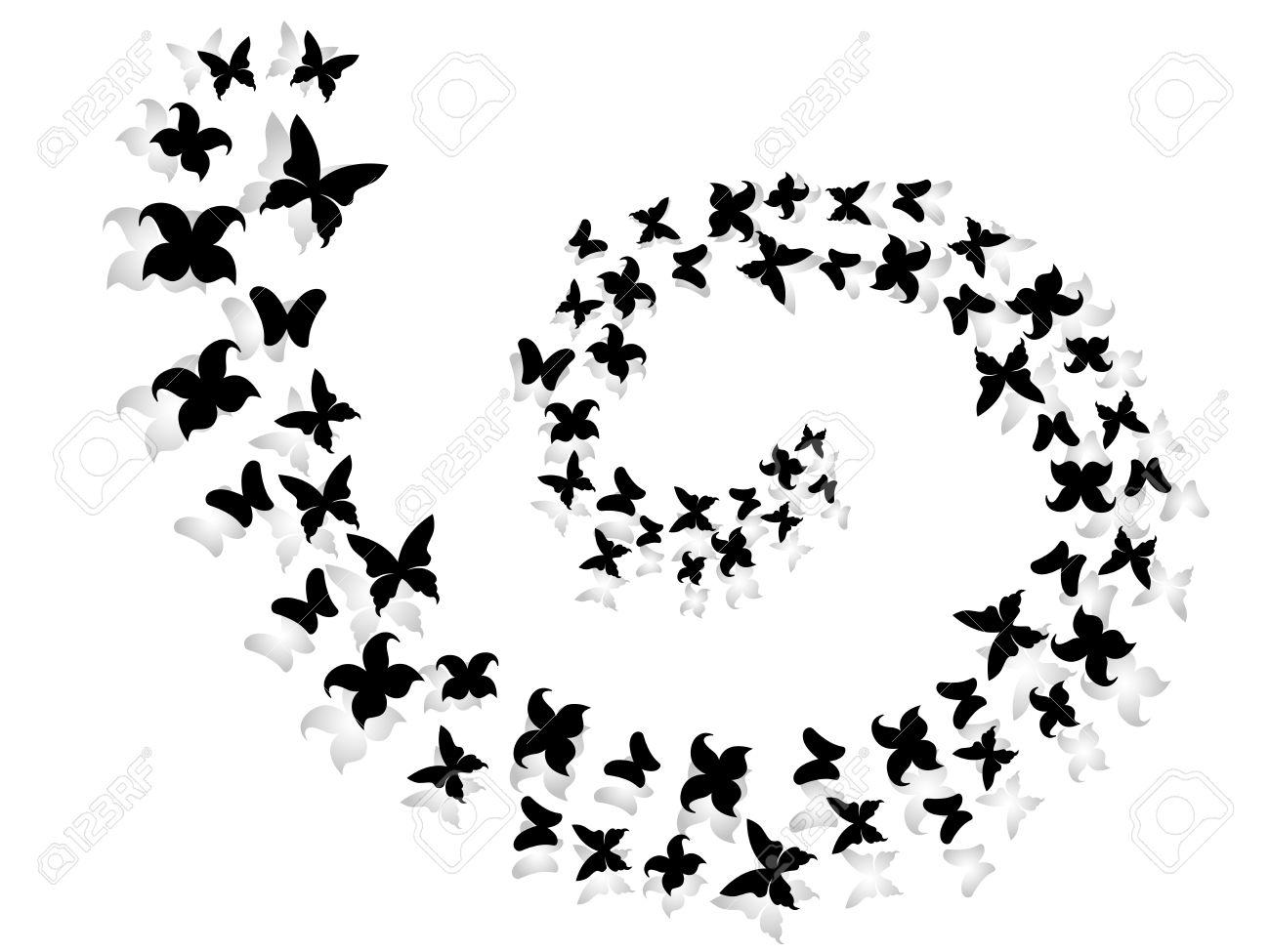 Spiral Of Black And Gray Flying Butterflies Hand Drawing Vector  -> Borboleta Vetor