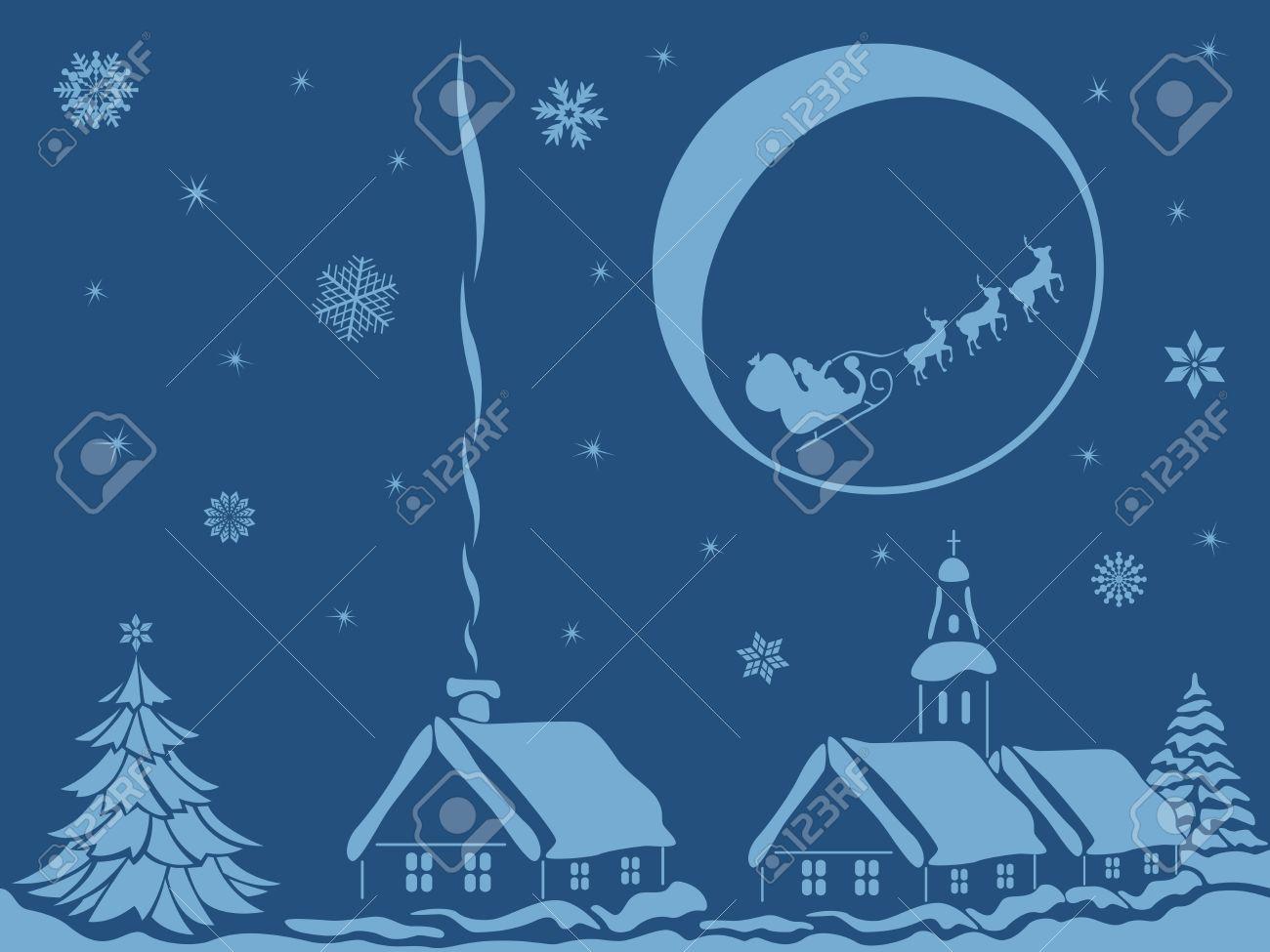 Village Dans La Nuit De Noel Avec Le Pere Noel Calme Et Le Renne Sur