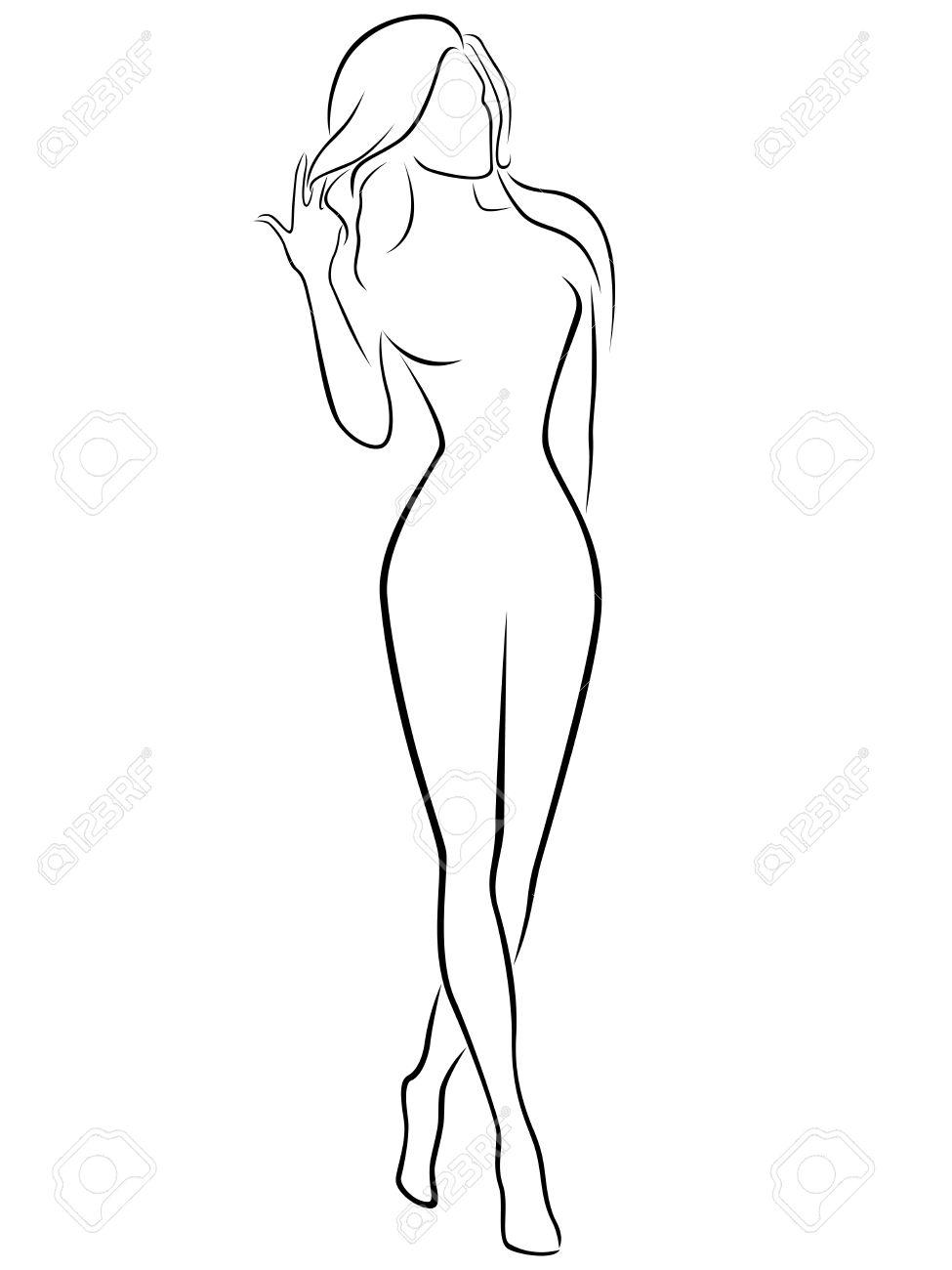 Resume Contour Femme Gracieuse Noir Sur Blanc La Main Vecteur De