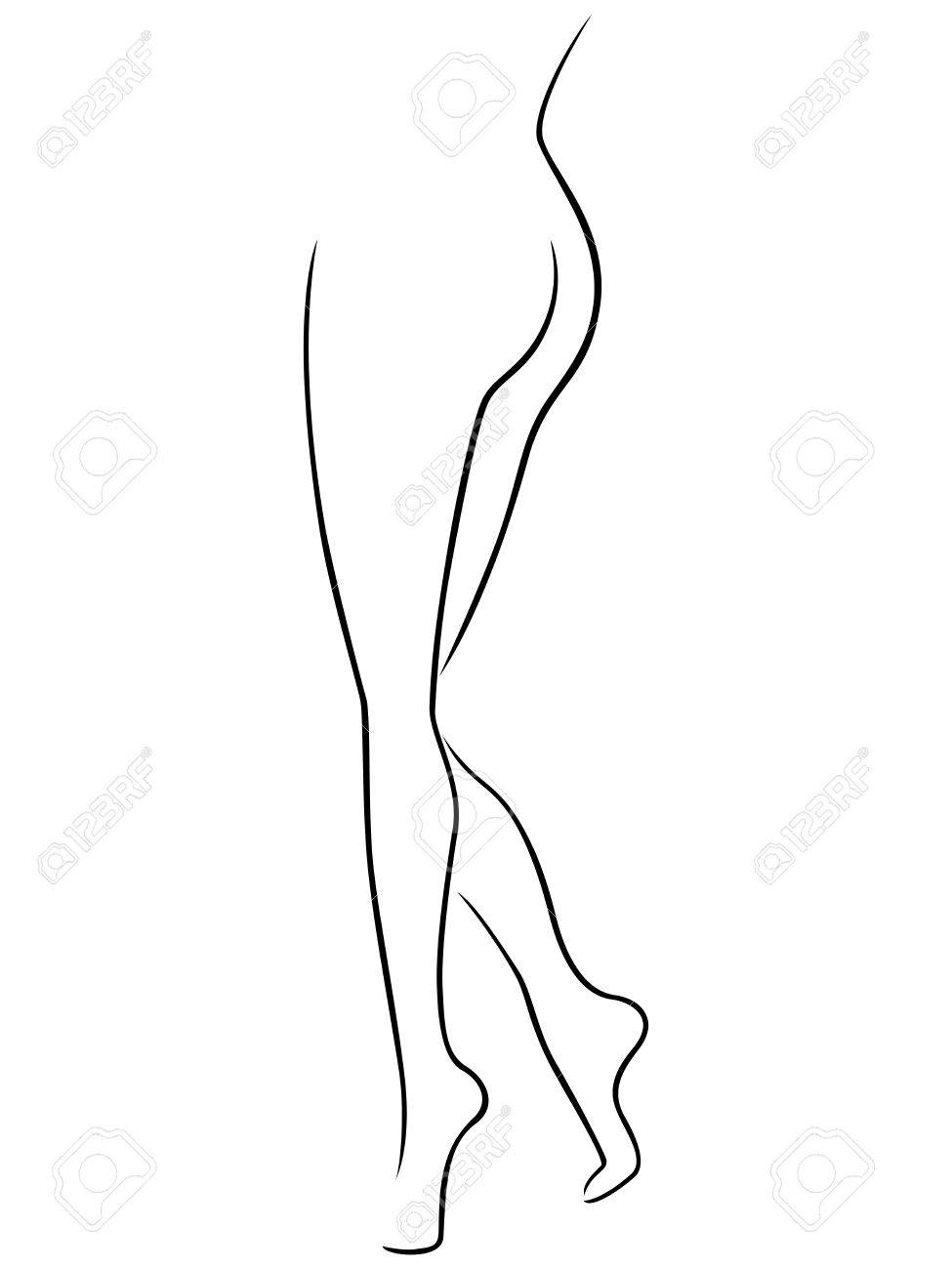 Abstract Vector Outline Of The Lower Part Of Graceful Female ...