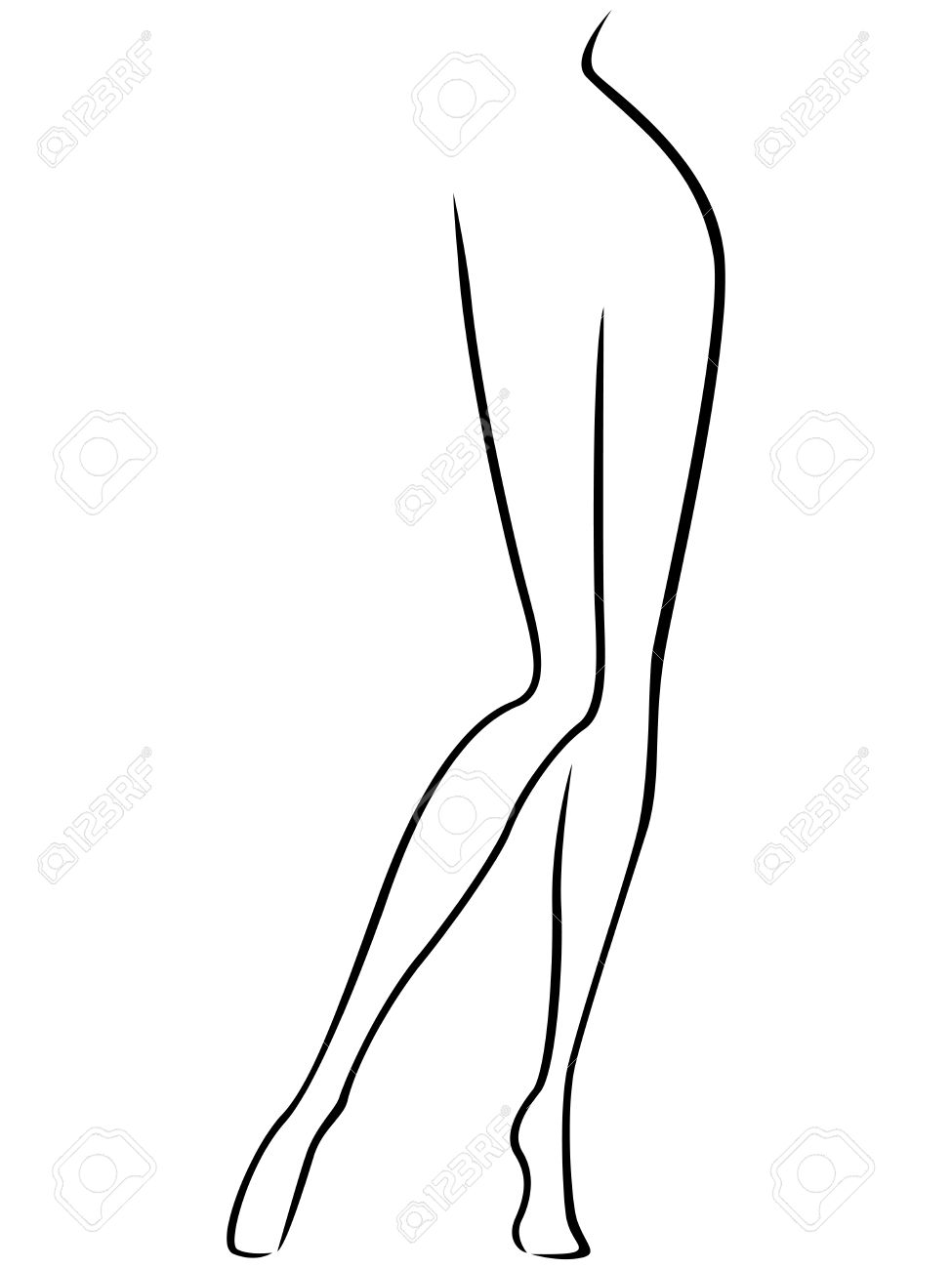 Abstract Vector Outline Of The Lower Part Of Slim Female Body ...