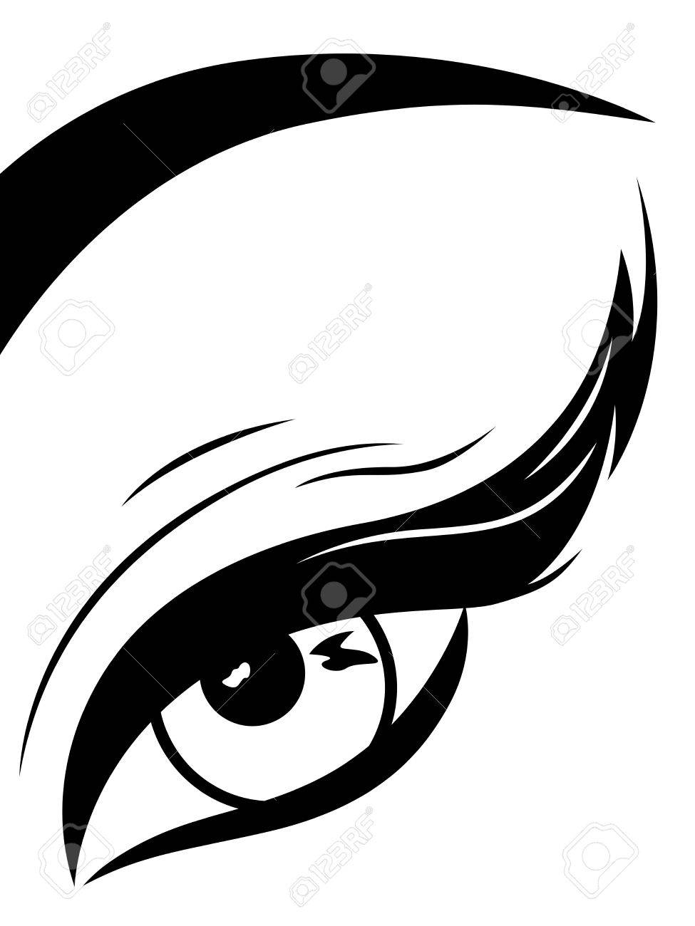 Eye with fluffy eyelid close-up, black and white hand drawing vector illustration - 38383944