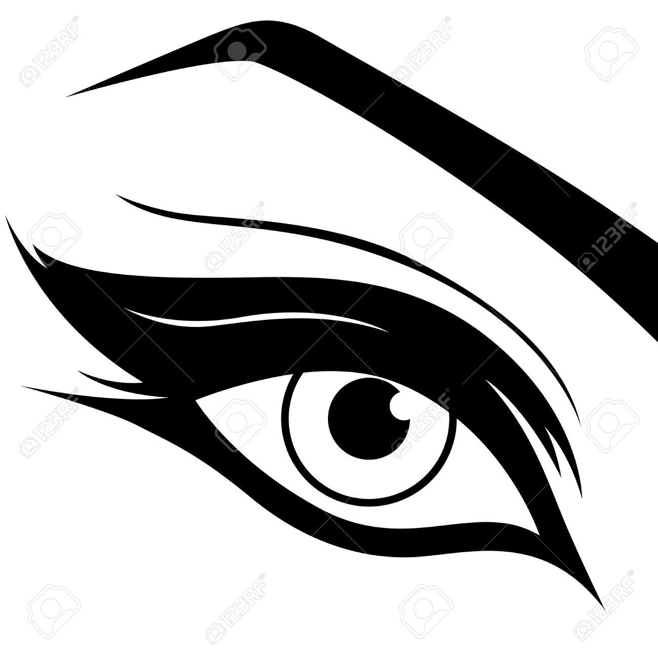 eye silhouette close up black and white hand drawing vector rh 123rf com vector eyeball vector eye chart