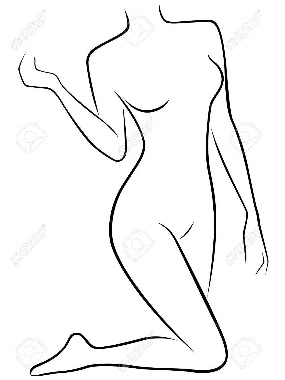 Abstract Vector Silhouette Of Lower Part Of Slim Female Body ...