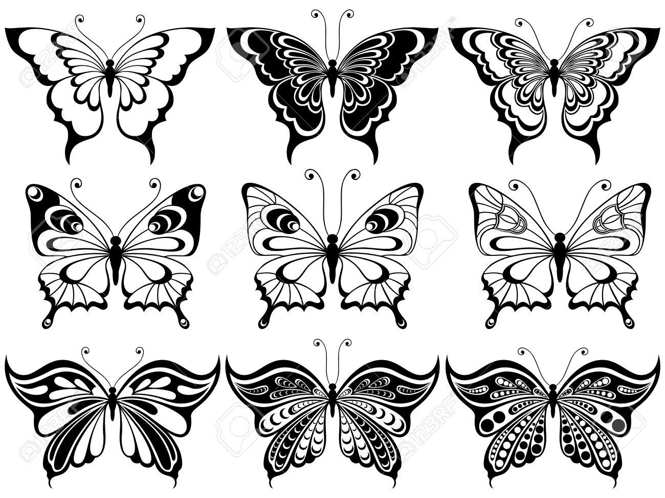 Set Von Neun Ornamentalen Schablonen Der Schönen Schmetterlinge Auf ...