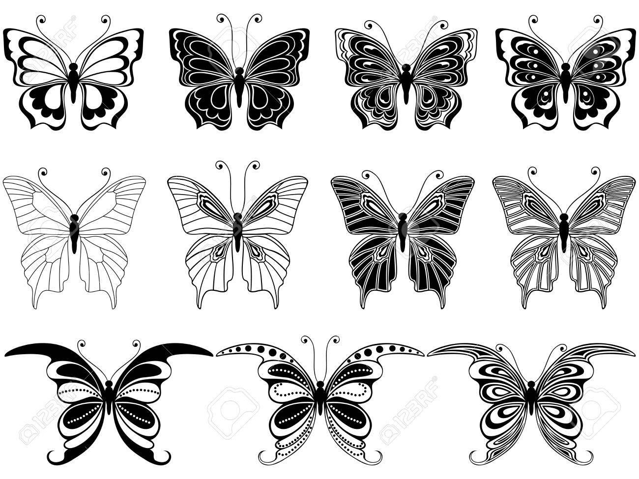 Set Von Elf Ornamentalen Schablonen Der Schönen Schmetterlinge Auf ...