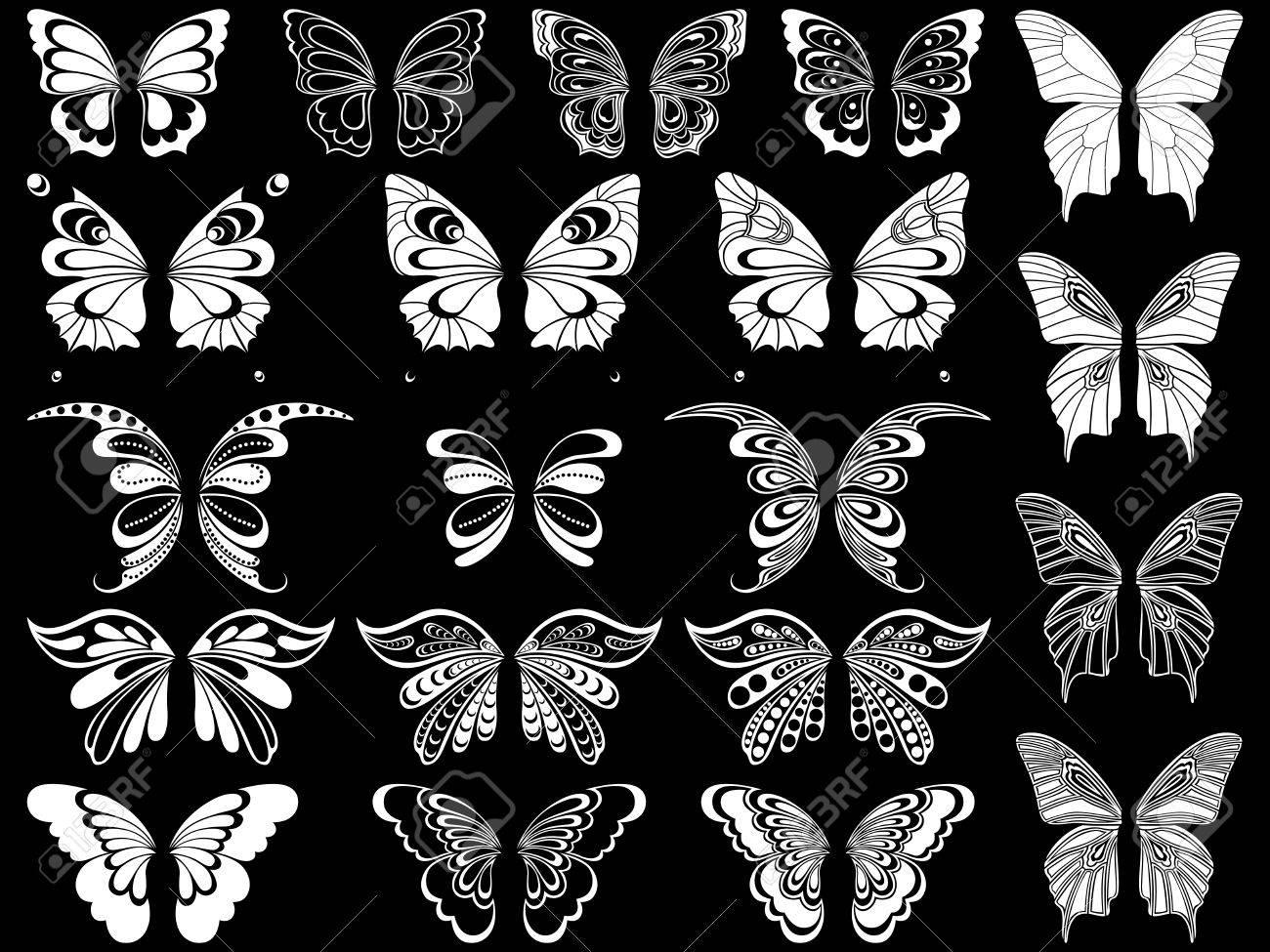 Set Von Zwanzig Weiße Zier Schablonen Der Schönen Schmetterlinge Auf ...