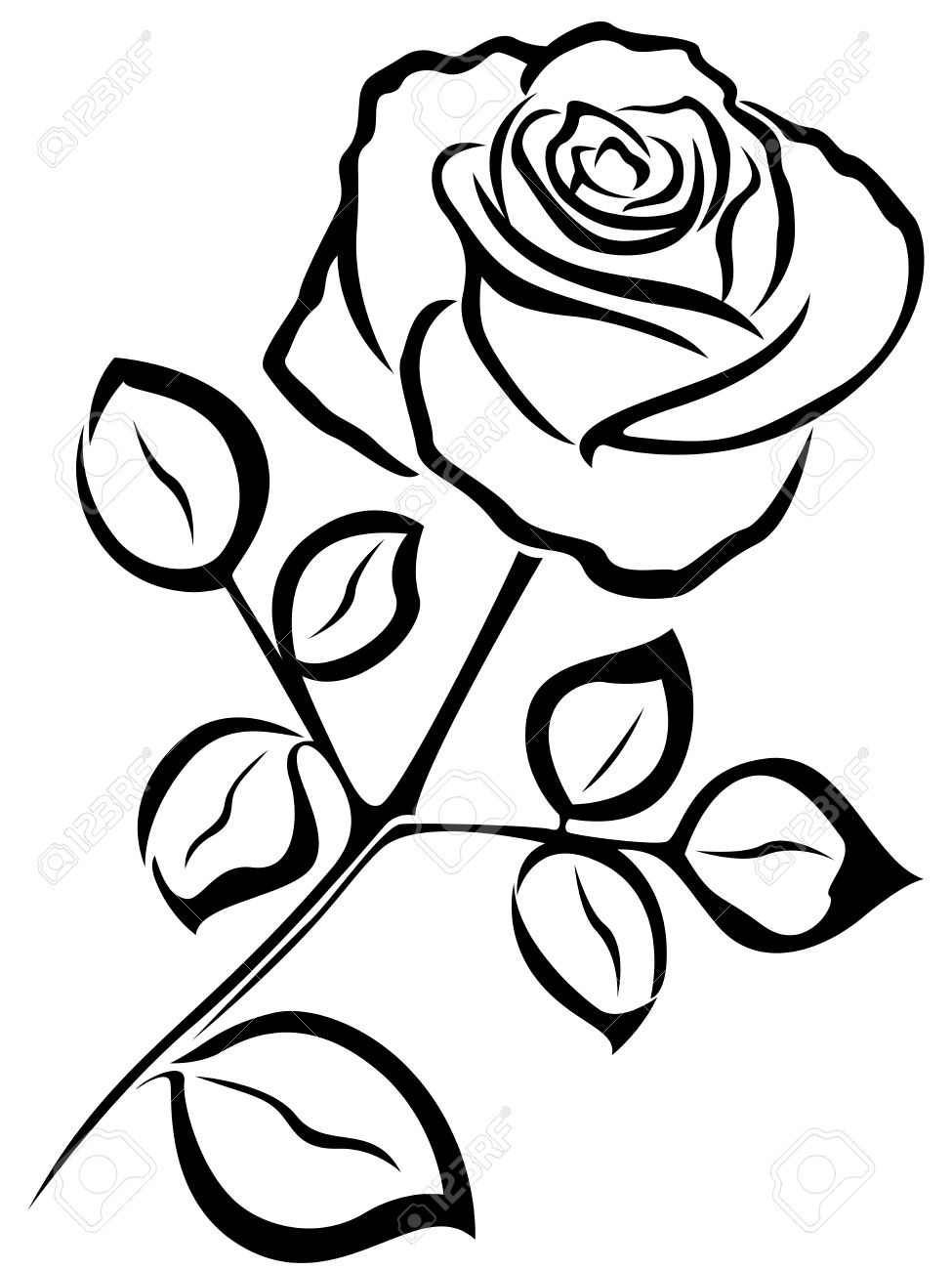 black vector outline of single rose flower isolated on a white rh 123rf com single rose black and white clipart red rose black and white clipart
