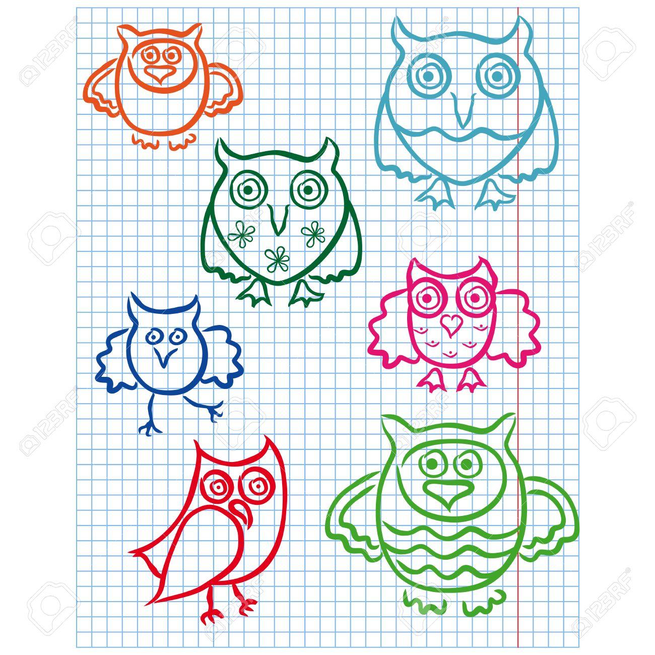 Dibujos Con Cuadros.Conjunto De Siete Buhos Lindos Colores De Dibujo En Una Hoja A