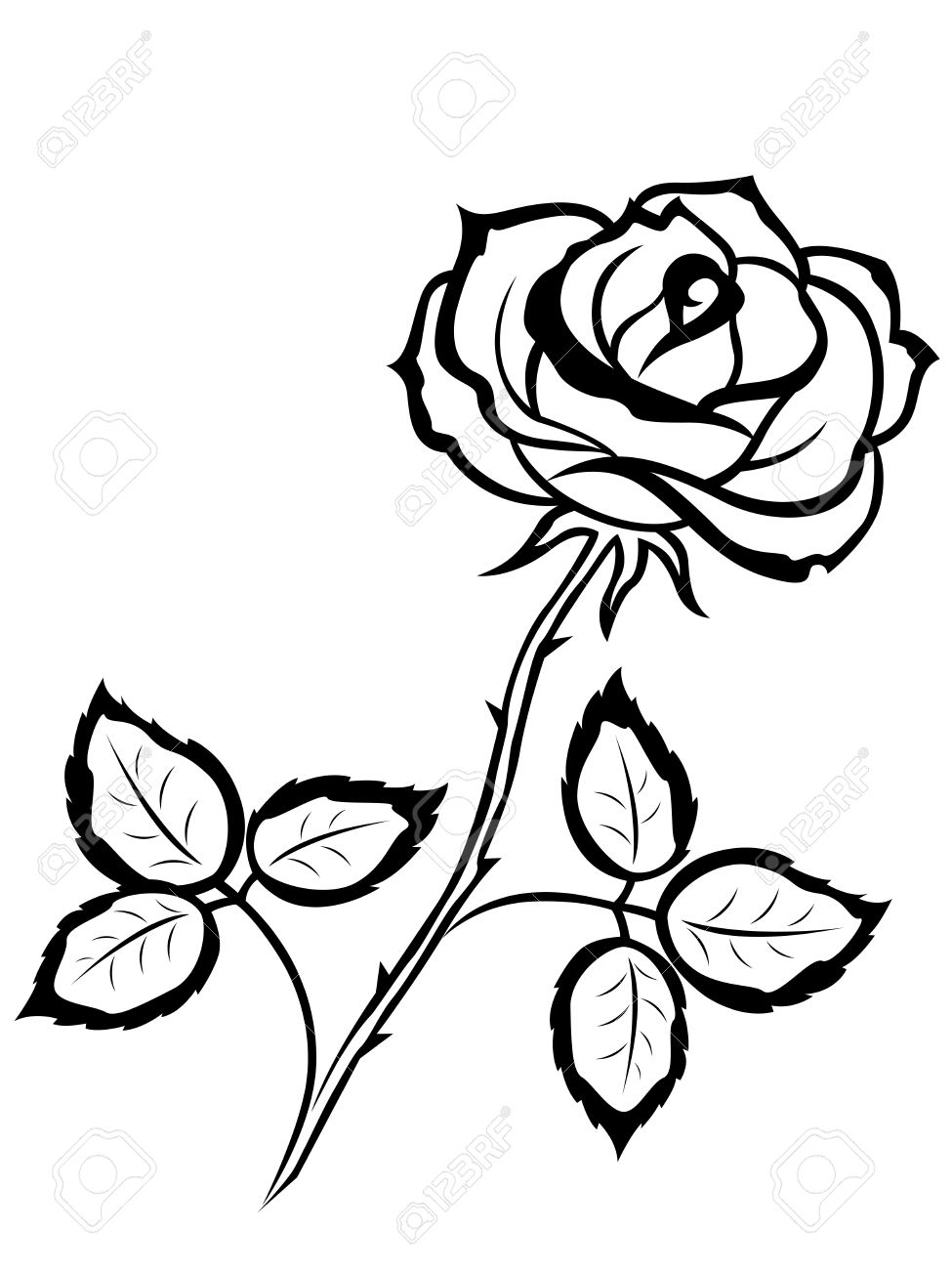 Beautiful Black Outline Of Single Rose Flower Isolated On A White