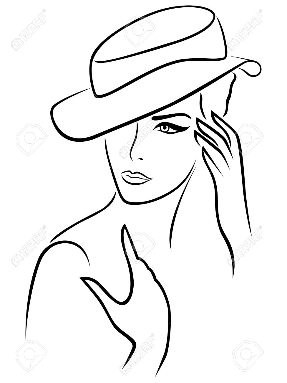Elegant young woman in a hat, hand drawing black vector outline on a white background - 44580354