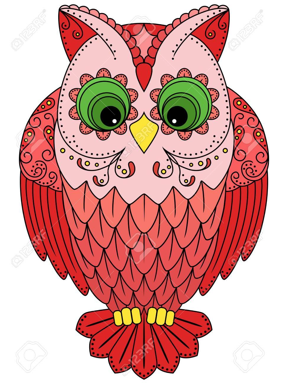Colorido Búho Rojo Grande, Ilustración Vectorial Ornamentales Con ...
