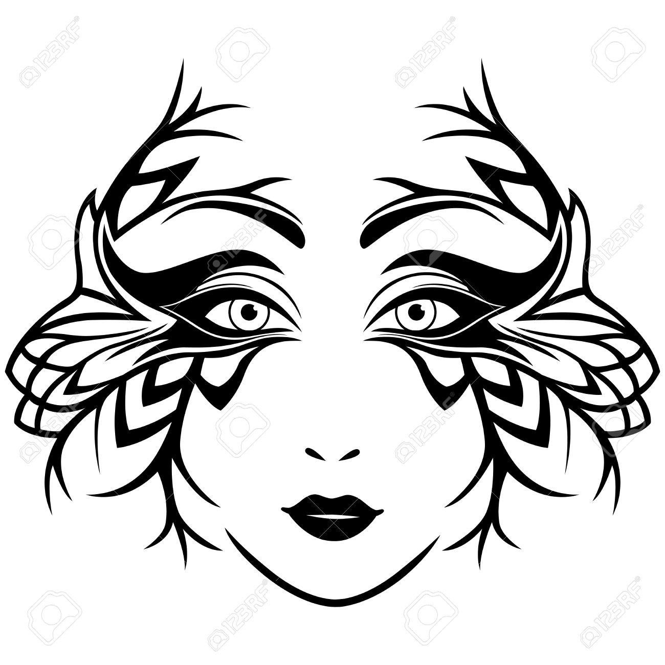 Résumé Visage Féminin En Noir Et Blanc Avec Un Masque Orné Stylisé Illustration Main Dessin