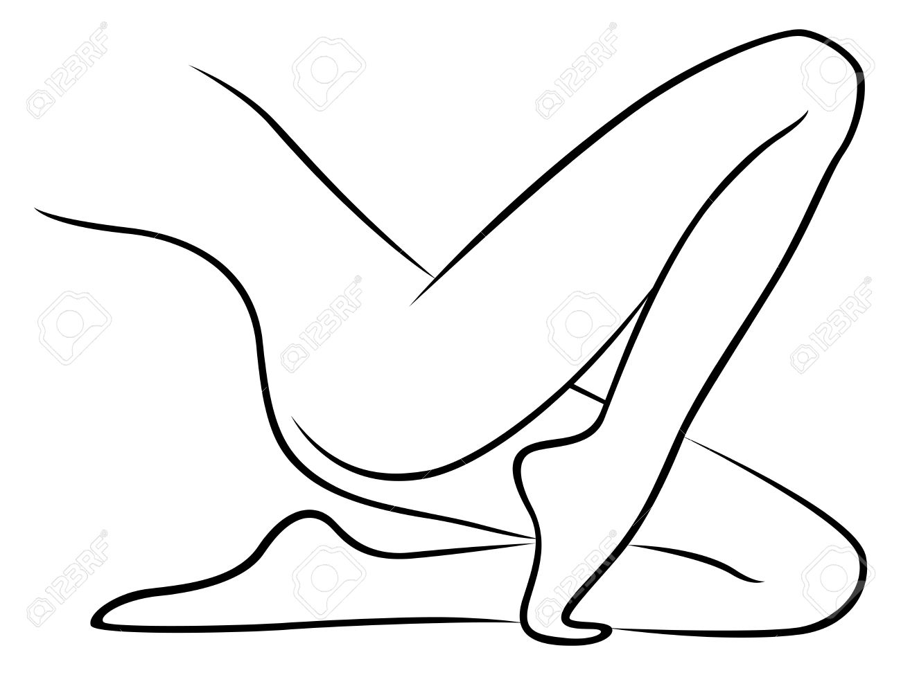 Lower Part Of Abstract Graceful Lying Female Body, Hand Drawing ...