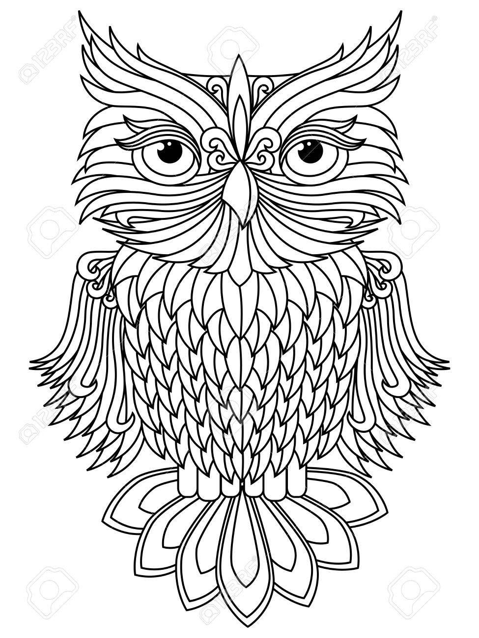 Amusing Big Owl Black Outline Isolated On The White Background