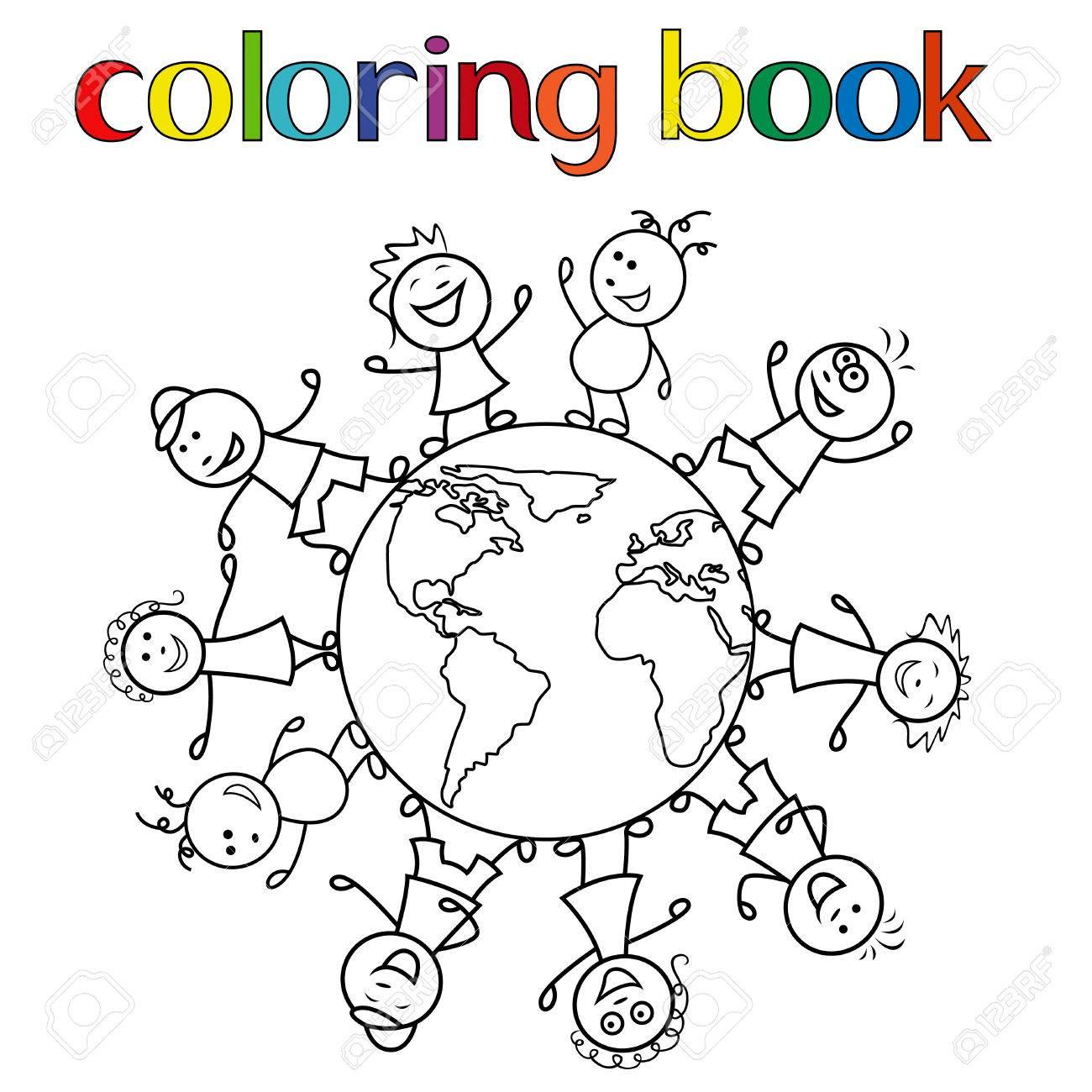 Feliz Unir A Los Ninos Juntos Alrededor Del Globo Ilustracion