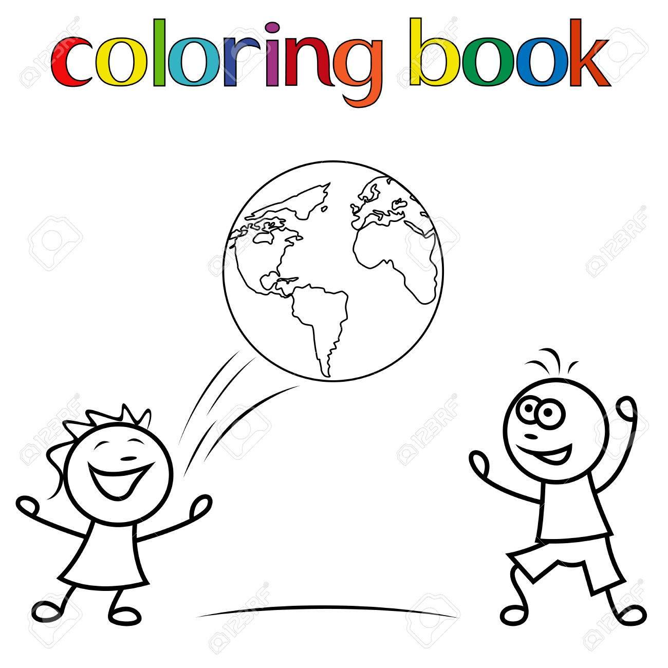 Niños Y Niñas Jugando Con La Pelota Como Un Globo Ilustración Vectorial De Dibujos Animados De Libro Para Colorear