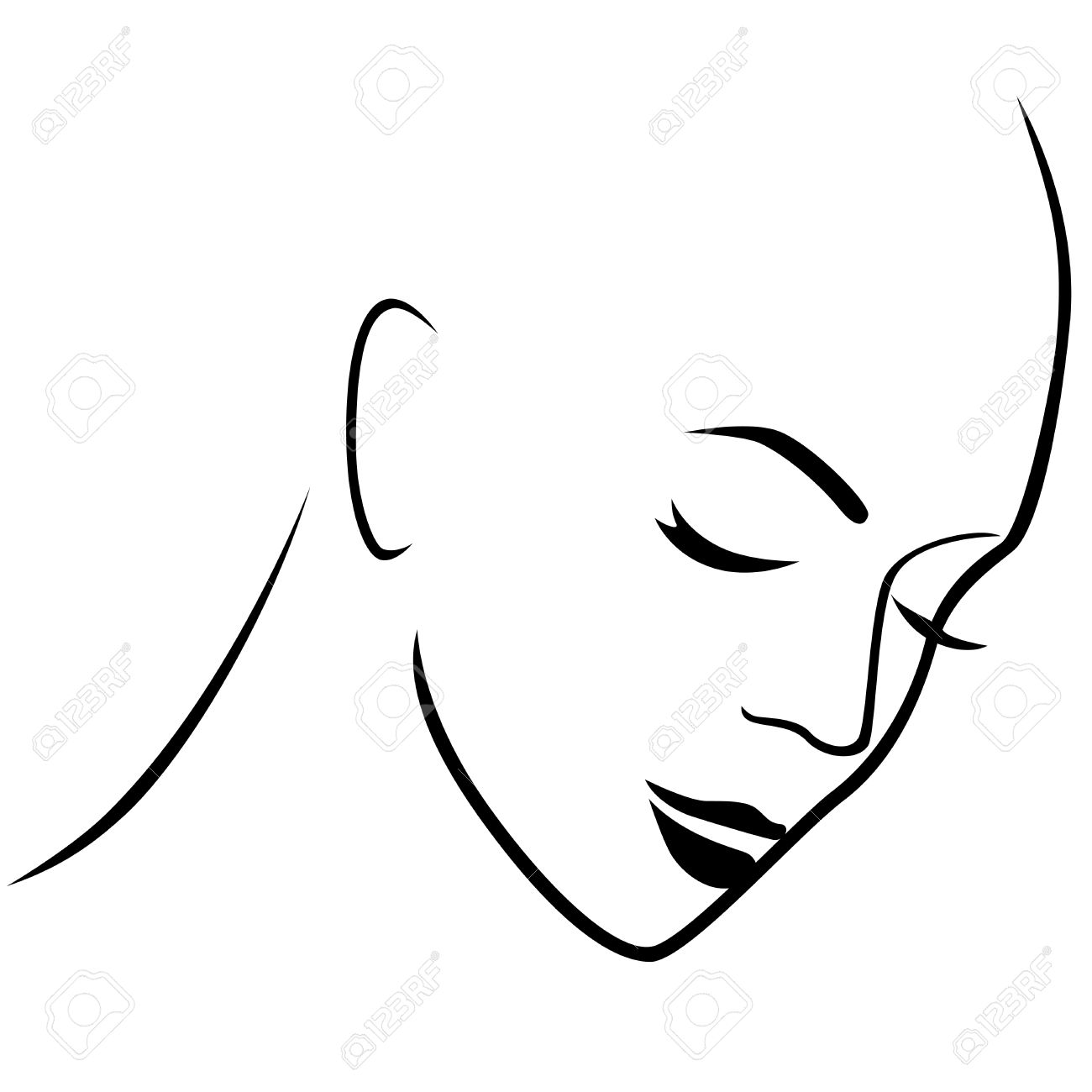 Abstract Gloomy Female Hairless Head With Closed Eyes Hand