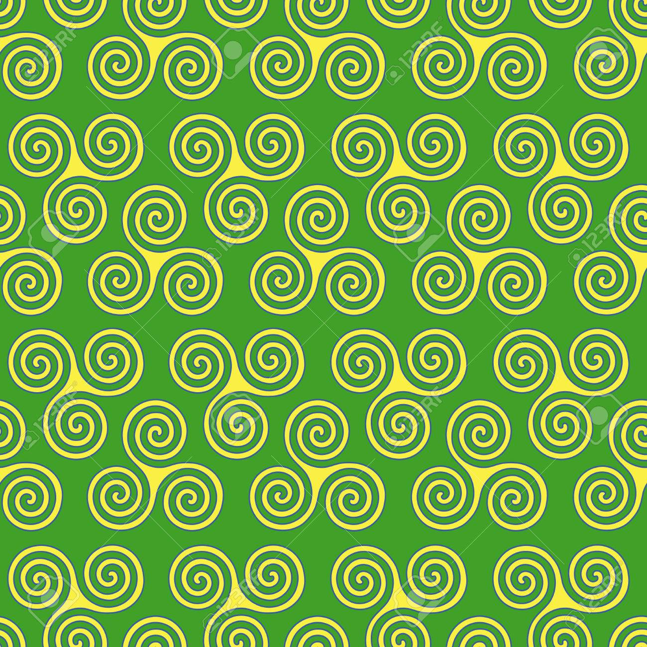 Seamless vector pattern with swirling triple spiral or triskele seamless vector pattern with swirling triple spiral or triskele a complex ancient celtic symbol buycottarizona Images