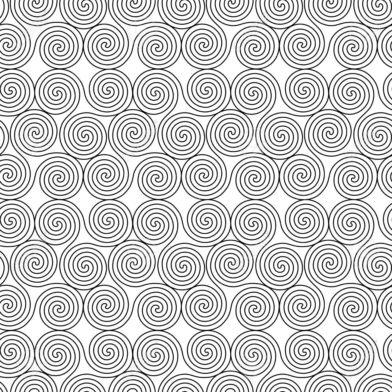 Monochrome seamless vector pattern with swirling triple spiral monochrome seamless vector pattern with swirling triple spiral or triskele a complex ancient celtic symbol buycottarizona Images