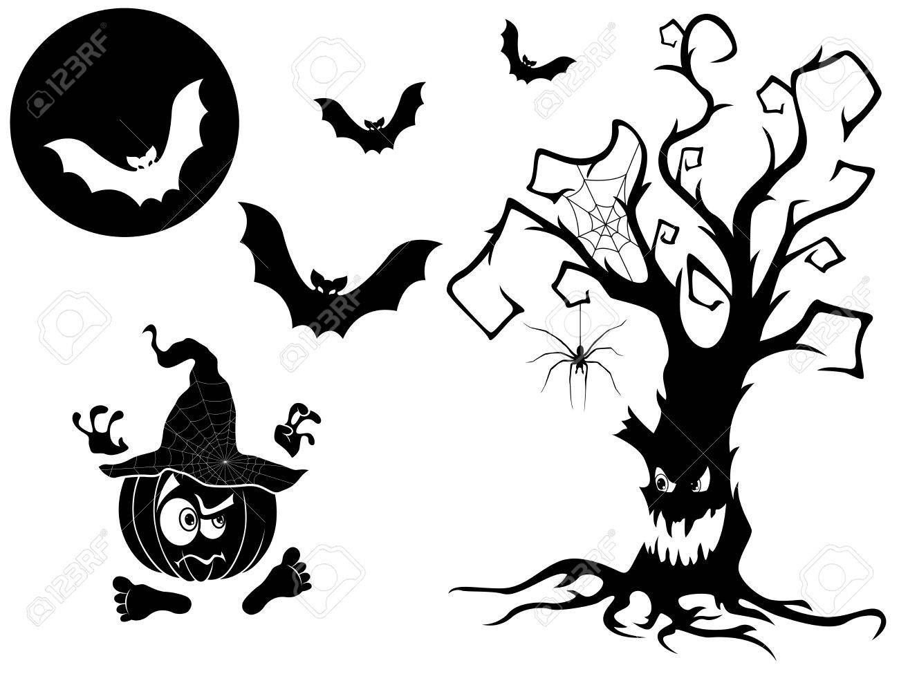 set of different vector silhouettes with halloween attributes rh 123rf com halloween vector images halloween vector art