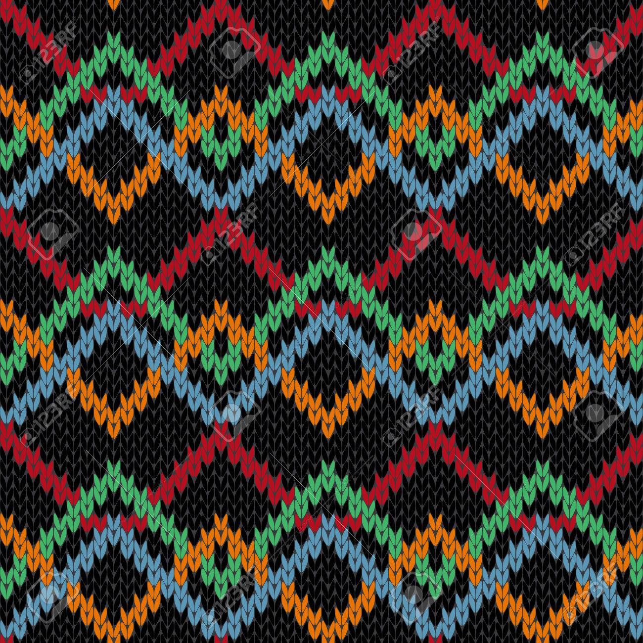 Tejer Sin Fisuras Vector Patrón Geométrico Multicolor Ornamental Con ...