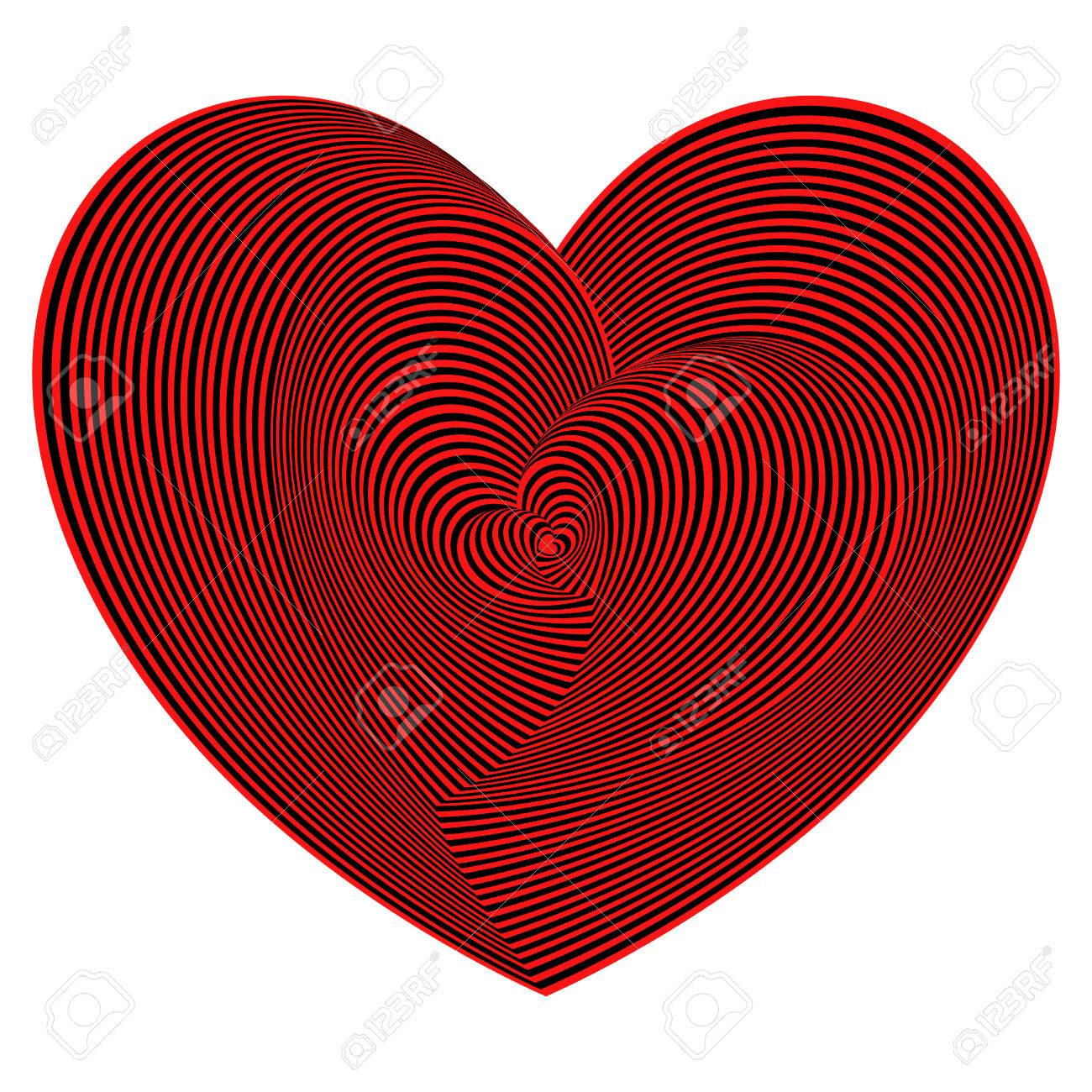 heart shapes sequence in red and black colors on the white