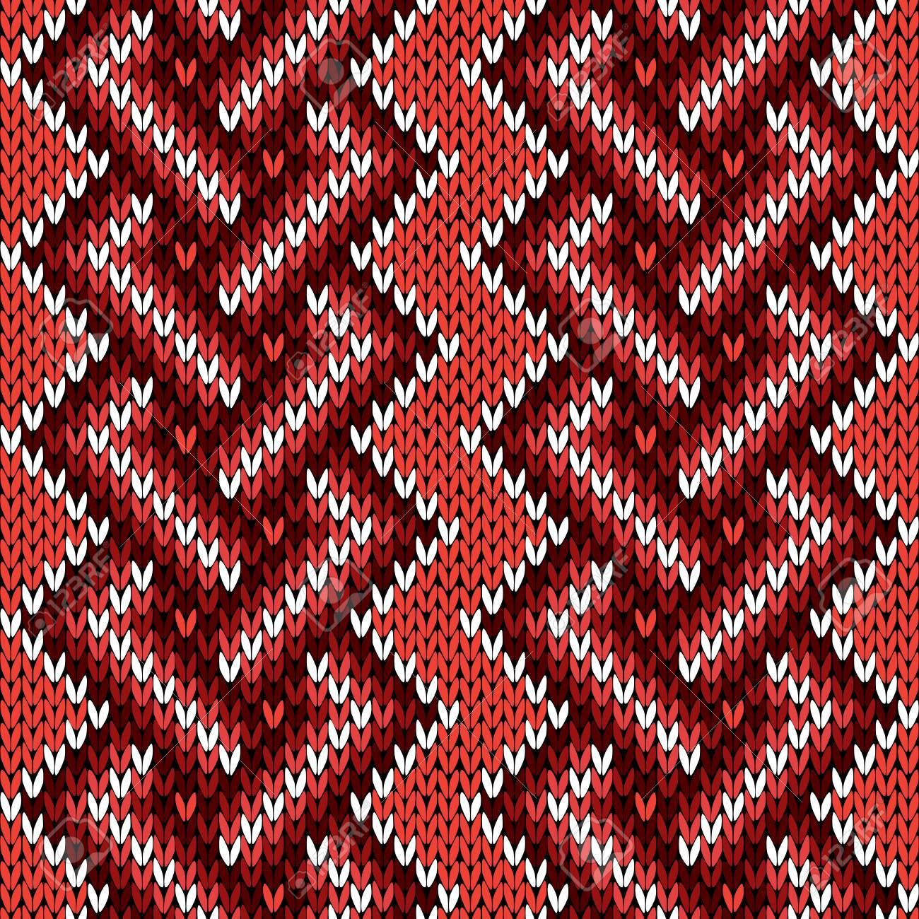 Patrón Geométrico Entretejido Hecho Punto En Colores Rojo, Marrón Y ...