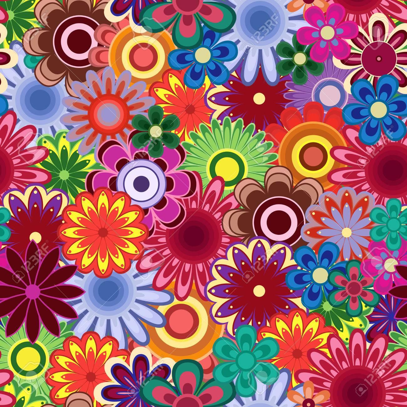 Modelo Inconsútil Del Vector Con Muchas Flores De Colores Brillantes Ilustraciones Vectoriales, Clip Art Vectorizado Libre De Derechos. Image 68546809.