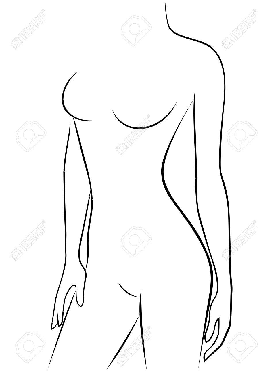 Attractive Young Graceful Female Body Vector Outline Royalty Free