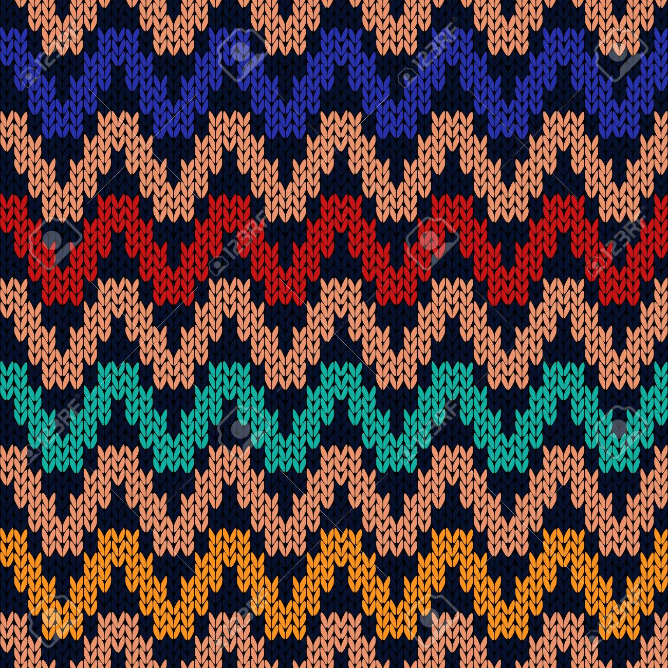 Geometrical Seamless Knitted Pattern With Zigzag Lines As A Fabric ...