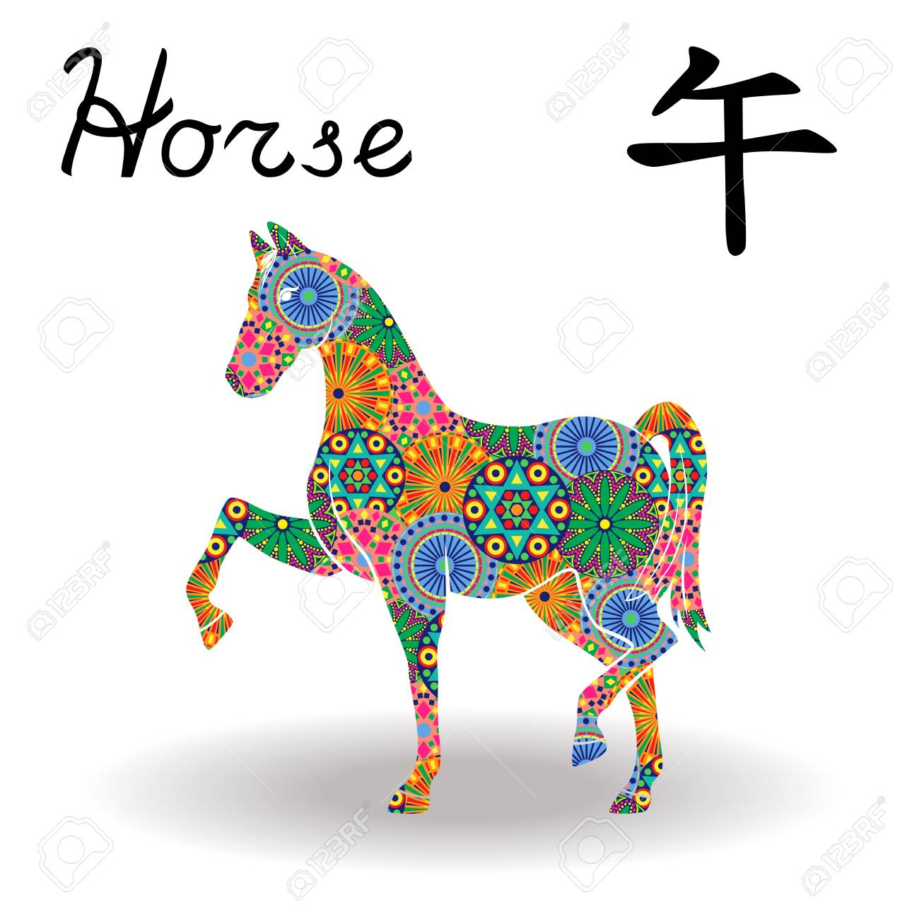 Chinese Zodiac Sign Horse Fixed Element Fire Symbol Of New