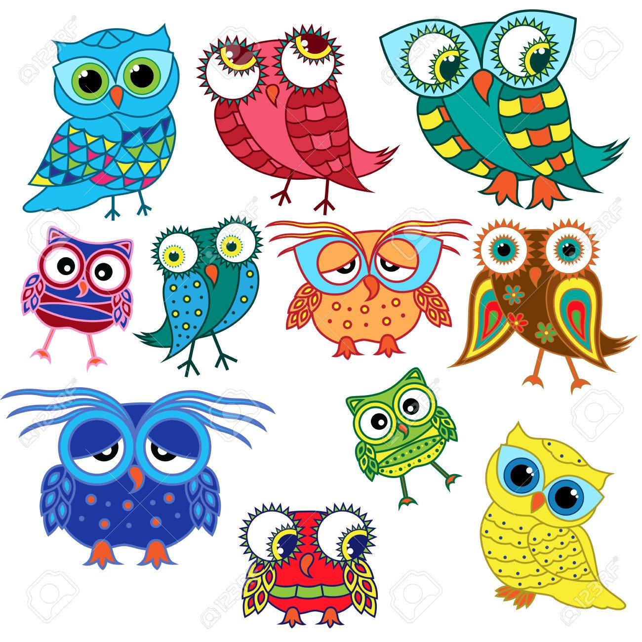 Conjunto De Once Buhos Divertidos De Dibujos Animados De Colores Con