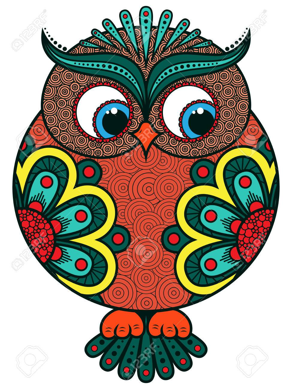 big stylized colourful ornate funny rounded owl vector artwork rh 123rf com great horned owl vector art great horned owl vector art