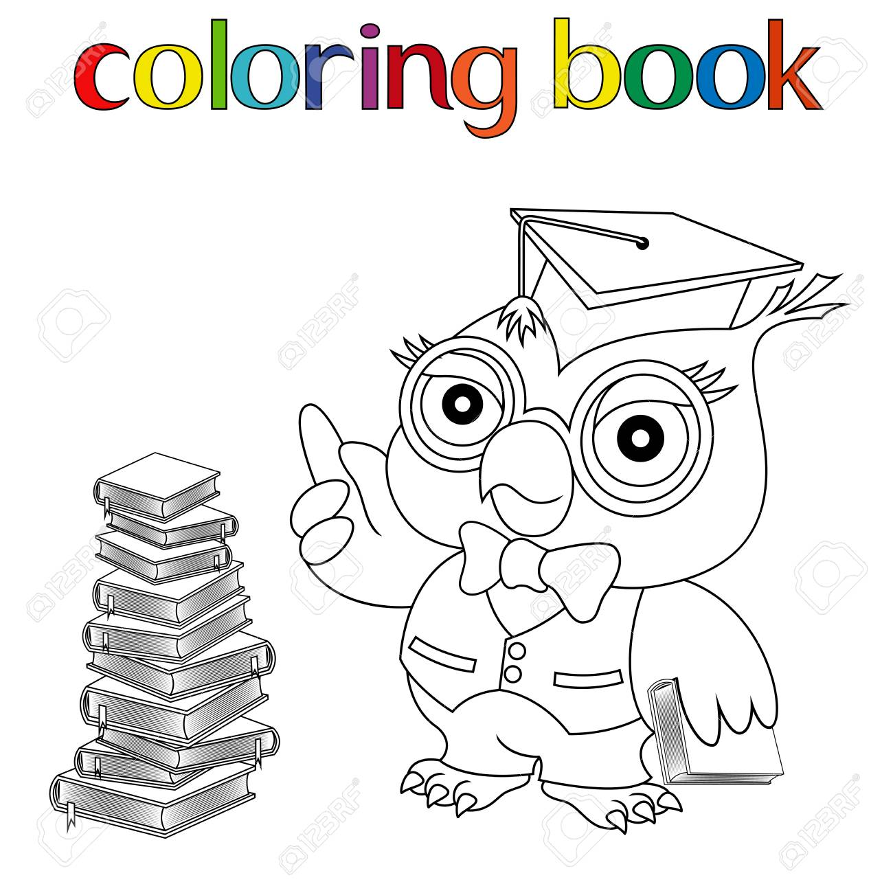 Maestro Serio Búho En Gafas Y En Birrete Cerca De Los Libros Apilados Para Colorear Libro Ilustración Vectorial Infantil De Dibujos Animados