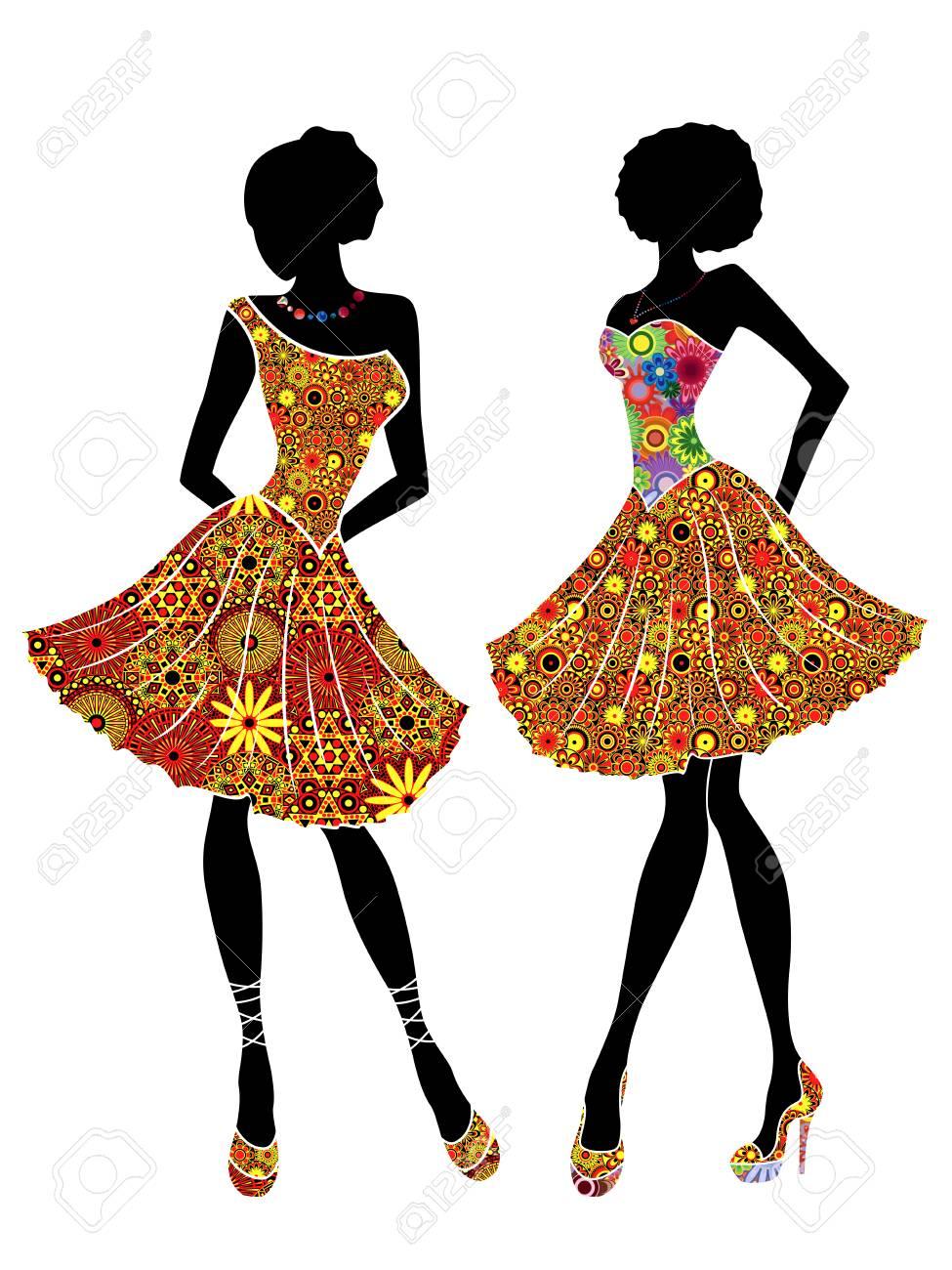 Encantadoras Señoras Agraciadas Con Exquisita Belleza En Vestidos Cortos Y En Tacones Altos Plantillas De Vector En Parte Se Llenan De Flores De