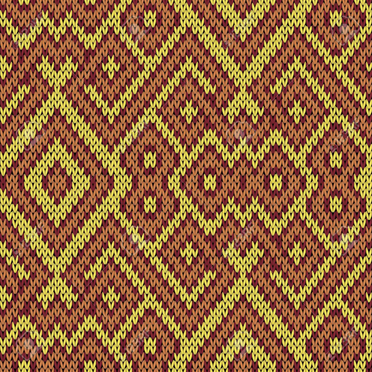 Knitting Seamless Vector Pattern As A Fabric Texture In Yellow Claret And Brown Hues Stock