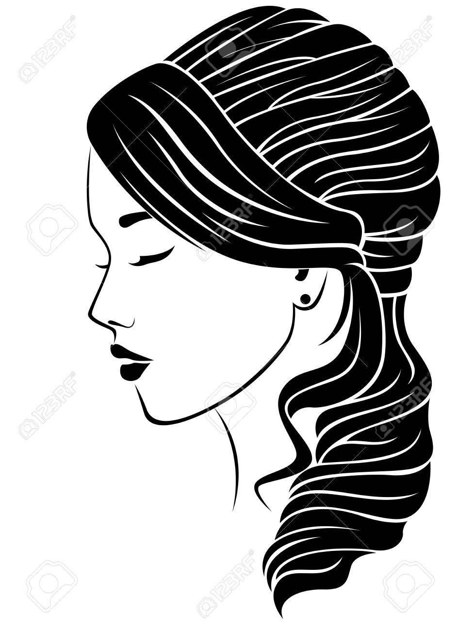 Dreamy girl with wavy hairdo, vector illustration isolated on the white background - 84586759