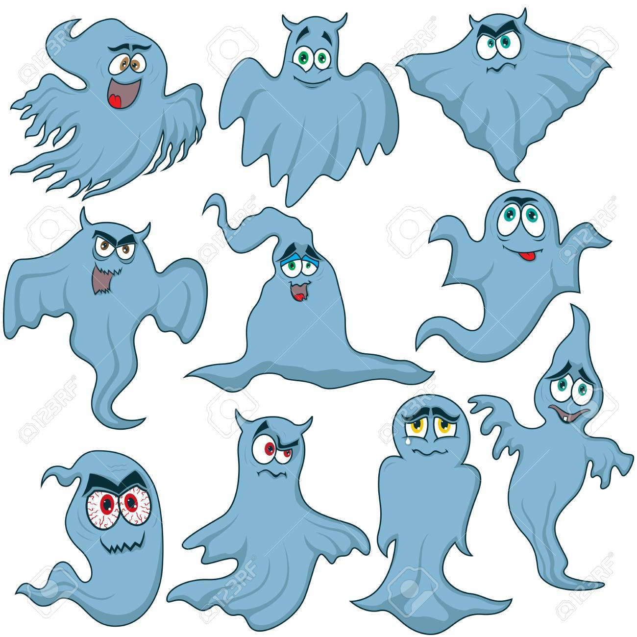 Set Of Ten Color Funny Halloween Phantoms With Various Characters